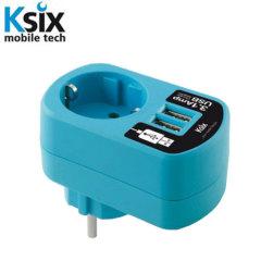 Ksix 3.1A Dual USB en Net Adapter – Blauw