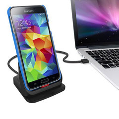 Synchronise and charge your Samsung Galaxy S5, even with a case on with this stylish desktop cradle with dual connection feature to charge a spare battery simultaneously.