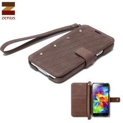 Zenus Neo Vintage Diary Case for Samsung Galaxy S5 - Dark Brown
