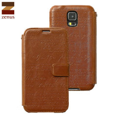 Zenus Lettering Diary Case for Samsung Galaxy S5 - Brown