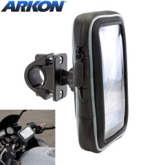 Designed for most straight, drop, trekking, and touring size handlebars, the Arkon Water-Resistant Bike Mount & Case for Smartphones allows you to place your device on your handlebars in either landscape or portrait orientation.