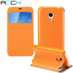 The ROCK Excel Series Case in orange for the Meizu MX3 is slim, stylish and practical. It has an integrated stand for viewing videos, and a window that is ideal for checking the time or screening and answering incoming calls without opening the case.