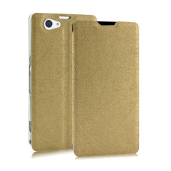Pudini Flip and Stand Sony Xperia Z2 Satin Style Case - Gold