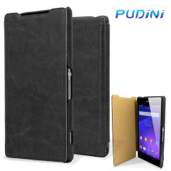 Pudini Leather Style Xperia Z2 Flip Tasche in Schwarz