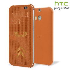 Official HTC One M8 / M8s Dot View Case - Orange Popsicle