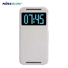 Funda Nillkin Fresh Faux con Ventana para el HTC One M8 - Blanca