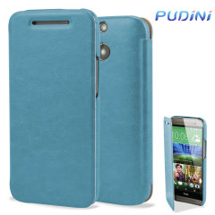 Pudini HTC One M8 2014 Leather Style Flip Case in Blau