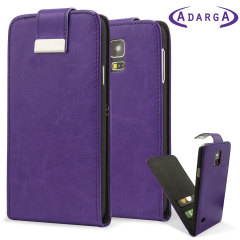 Adarga Leather Style Galaxy S5 Wallet Flip Case - Purple