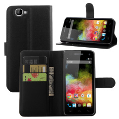 Adarga Stand and Type Wiko Rainbow Tasche Folio Case in Schwarz