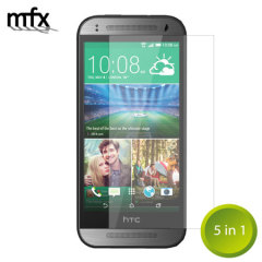 Keep your HTC One Mini 2 screen in pristine condition with this 5 pack of MFX scratch-resistant screen protectors.