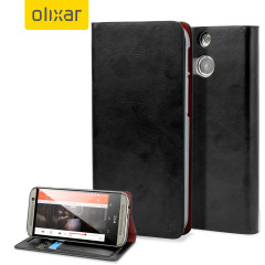 Olixar Leather-Style HTC One M8 Wallet Case Schwarz