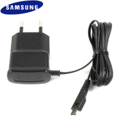 Official Samsung 1A Micro USB EU AC Wall Charger replacement in black.