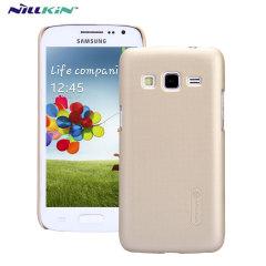 Specialtillverkad för Samsung Galaxy Express 2 kommer det skyddande, guld skalet från Nillkin skydda din telefon från vardagliga stötar och fall samtidigt som den behåller dess eleganta design.