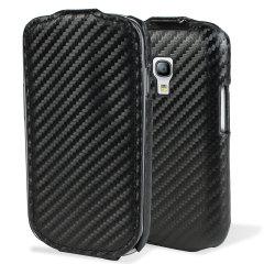 Slimline Carbon Fibre-Style Galaxy S3 Mini Vertical Flip Case