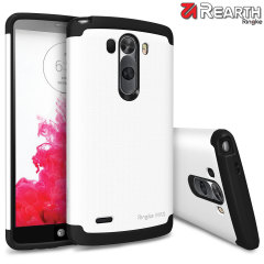 Provide your LG G3 with slim yet heavy duty protection with this white Ringke dual-layered armour case. The stylish design and soft touch finish preserve the aesthetics and feel of the G3 perfectly.