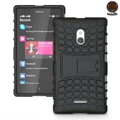 Protect your Nokia XL with this black ArmourDillo Case, comprised of an inner TPU case and an outer impact-resistant exoskeleton. This case literally takes some beating!