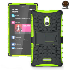 Protect your Nokia XL with this green ArmourDillo Case, comprised of an inner TPU case and an outer impact-resistant exoskeleton. This case literally takes some beating!