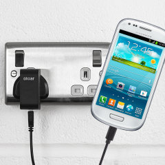 Charge your Samsung Galaxy S3 Mini quickly and conveniently with this compatible 2.5A high power charging kit. Featuring mains adapter and USB cable.