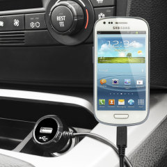 Keep your Samsung Galaxy S3 Mini fully charged on the road with this high power 2.4A Car Charger, featuring extendable spiral cord design. As an added bonus, you can charge an additional USB device from the built-in USB port!