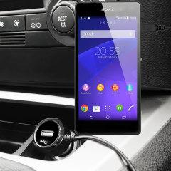 Hold din Sony Xperia Z2 helt oppladet på veien med 2.4A billaderen som har en uttrekkbar spiral-kabeldesign. Som en ekstra bonus kan du lade en ekstra USB-enhet fra den innebygde USB-porten.