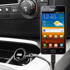 Mantenga su dispositivo Samusung Galaxy S2 totalmente cargado mientras conduce con este cargador de coche con cable en espiral extensible. Además tiene un puerto adicional USB para poder cargar otro aparato.