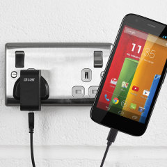 Charge your Motorola Moto G quickly and conveniently with this compatible 2.5A high power charging kit. Featuring mains adapter and USB cable.