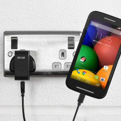 Charge your Motorola Moto E quickly and conveniently with this compatible 2.4A high power charging kit. Featuring mains adapter and USB cable.