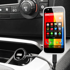 Keep your Motorola Moto G fully charged on the road with this high power 2.4A Car Charger, featuring extendable spiral cord design. As an added bonus, you can charge an additional USB device from the built-in USB port!