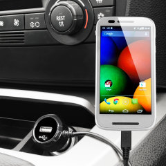 Keep your Motorola Moto E fully charged on the road with this high power 2.4A Car Charger, featuring extendable spiral cord design. As an added bonus, you can charge an additional USB device from the built-in USB port!