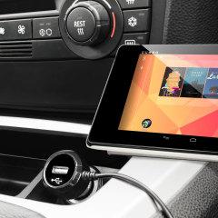 Altijd een opgeladen Google Nexus 7 2012 met deze High Power 2.4A Auto Oplader. De oplader heeft een spiraal vormig snoer en een extra USB poort om een tweede toestel op te laden.