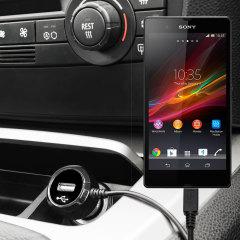 Mantenga su dispositivo Sony Xperia M totalmente cargado mientras conduce con este cargador de coche con cable en espiral extensible. Además tiene un puerto adicional USB para poder cargar otro aparato.
