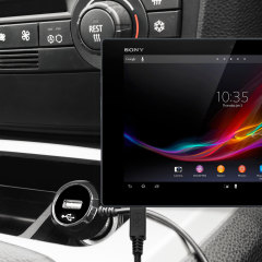 Keep your Sony Xperia Tablet Z fully charged on the road with this high power 2.4A Car Charger, featuring extendable spiral cord design. As an added bonus, you can charge an additional USB device from the built-in USB port!