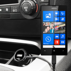 Mantenga su dispositivo Nokia Lumia 520 totalmente cargado mientras conduce con este cargador de coche con cable en espiral extensible. Además tiene un puerto adicional USB para poder cargar otro aparato.