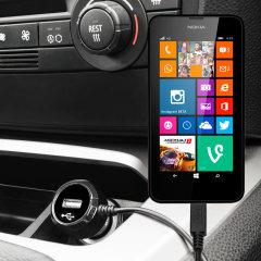 Mantenga su dispositivo Nokia Lumia 625 totalmente cargado mientras conduce con este cargador de coche con cable en espiral extensible. Además tiene un puerto adicional USB para poder cargar otro aparato.