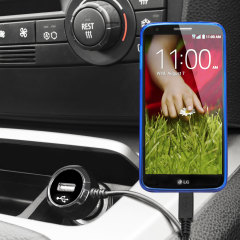 Keep your LG G2 fully charged on the road with this high power 2.4A Car Charger, featuring extendable spiral cord design. As an added bonus, you can charge an additional USB device from the built-in USB port!