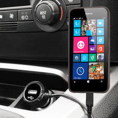 Keep your Nokia Lumia 630 fully charged on the road with this high power 2.4A Car Charger, featuring extendable spiral cord design. As an added bonus, you can charge an additional USB device from the built-in USB port!