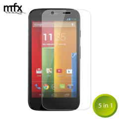 Keep your Moto G's screen in pristine condition with this 5-in-1 MFX scratch-resistant screen protector pack.