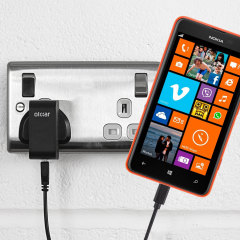 Charge your Nokia Lumia 625 quickly and conveniently with this compatible 2.4A high power charging kit. Featuring mains adapter and USB cable.