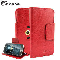 Wrap your 4 inch screen phone in luxurious, sophisticated protection with the red Encase Leather-Style Stand Case. This universal case has credit card slots and can transform into a convenient viewing stand which rotates between portrait and landscape.