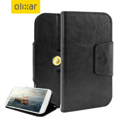 Kääri 5 tuuman näytöllä varustettu puhelimesi tähän ylelliseen keinonahkaiseen suojakoteloon. Tässä käytännöllisessä kotelossa on taskut luottokorteille ja se muuntautuu myös käteväksi katselujalustaksi joko pysty- tai vaakasuoraan.