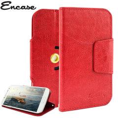 Encase Rotating 5 Zoll Kunstleder Universal Phone Hülle in Rot