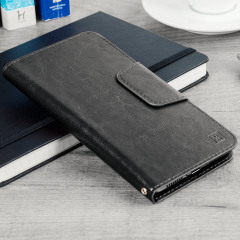 Wrap your 5.5 inch screen phone in luxurious, sophisticated protection with the black Olixar Leather-Style Stand Case. This universal case has credit card slots and can transform into a convenient viewing stand which rotates between portrait and landscape