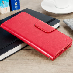 Wrap your 5.5 inch screen phone in luxurious, sophisticated protection with the red Olixar Leather-Style Stand Case. This universal case has credit card slots and can transform into a convenient viewing stand which rotates between portrait and landscape