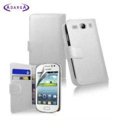 Adarga Galaxy Fame Tasche Wallet Case mit Displayschutz Weiß