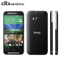 dbrand Textured Cover HTC One M8 Skin Black Carbon Fibre