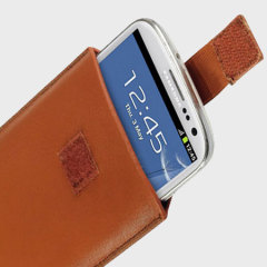 Funda universal tipo cuero para smartphones - Marrón