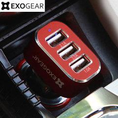 Cargue 3 dispositivos USB al mismo tiempo con el cargador de coche ExoCharge 3 puertos 5.1 A. Un accesorio que cargará su smartphone, tablet y otros dispositivos de forma simultánea. Bienvenidos al único cargador para coche que usted necesitará a partir de ahora.