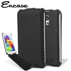 Encase Slimline Carbon Fibre-Style Galaxy S5 Mini Vertical Flip Case