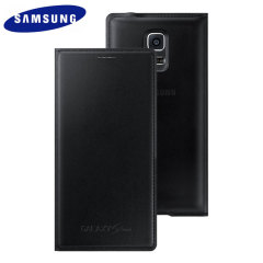 Official Samsung Galaxy S5 Mini Flip Case Cover - Metallic Black