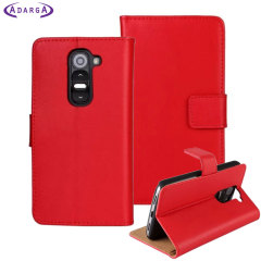 Adarga Leather-Style LG G2 Mini Wallet Case - Red